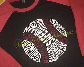 Baseball Shirt Raglan Glitter T-ball TBall T Ball Baseball Mom Red Green Blue Purple Red Black