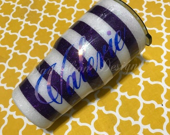 Glitter Tumbler Glitter Cup Choose Your Colors Purple and White Stripe Name Initial Monogram Custom Color Scheme Stainless