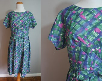 Early 1960s NOS Abstract Print Day Dress // Medium