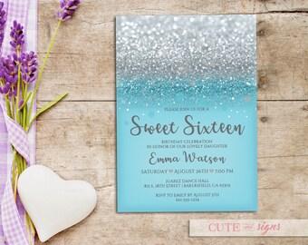 Blue Silver Glitter Sweet 16 Invitation, Quinceanera, Teen Birthday, Silver Glitter Digital Download