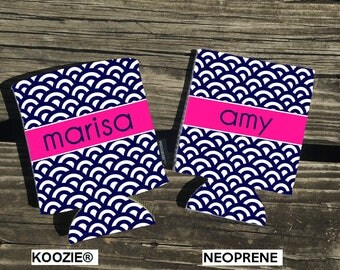 NOW Offering KOOZIE ® Brand koozies. Scallop Background. Your choice of Neoprene or KOOZIE ® Brand. Vacation Coozies - Beach Koozies