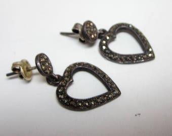 Vintage sterling marcasite heart designs earrings