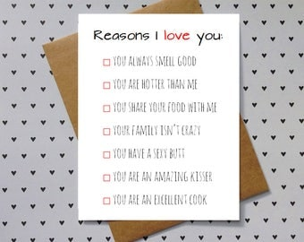 funny anniversary card, love card for boyfriend, girlfriend, husband, wife. Reasons I love you.