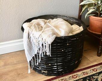 Large Vintage Black Cottage Blanket Basket / Primitive Black Chippy Paint Wicker Basket