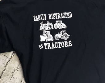Easily Distracted by Tractors Black Tshirt. Adult
