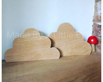 Set of wooden clouds scandi decor nursery children shelfs blank