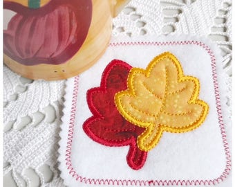 Machine Embroidery Applique Maple Leaf Coaster - Machine Embroidery Instant Download Design