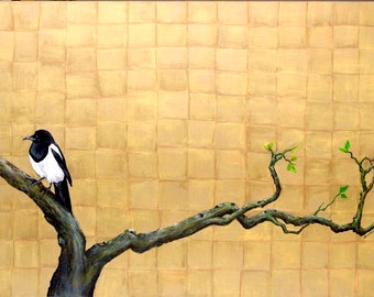 Modern art. Wall art. Contemporary art. Nature inspired. Gold background. Magpie bird. By Gimena Boccadoro. Modern Nature.