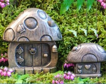 Fairy Doors Mushroom Pair Bronzed for The garden or IndoorsIrish fairy garden   Etsy. Fairy Garden Ornaments Ireland. Home Design Ideas