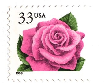 10 UNused Pink Rose Postage Stamps // Vintage Rose Stamps // For Mailing Wedding Invitations; Save the Dates; Cards