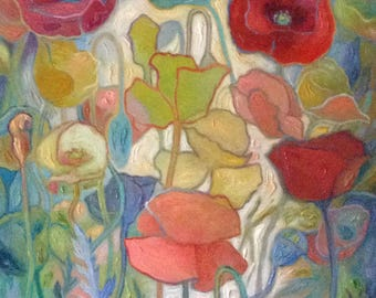 "Poppies, Les Coquelicots Variation 2, ©Jeannine Edelblut, 24""x33"" original organic oil painting on stretched canvas"