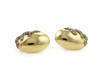 20412 - Estate Diamond 18k Gold Oval Dome Shape Post Clip Earrings