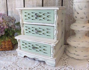 Shabby Chic Jewelry Box - Vintage Wood Jewelry Box with Music Box - French Country - Cottage Chic