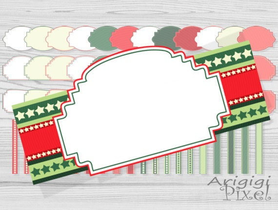 digital Christmas frames for labels with borders, tape clip art, green, red, stars, small commercial use, for card making, invitation, tags