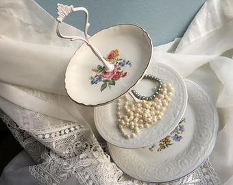 Floral Wedding Plate, Tiered Serving Stand, Rose Serving Plate, Tiered Tea, Unique Flower Plate, Pretty Dishes, Tea Party Dishes
