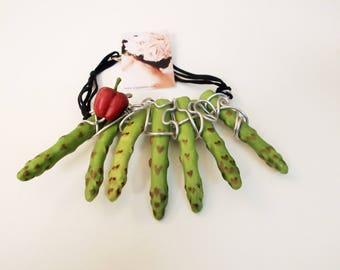 collana asparagi e peperone handmade