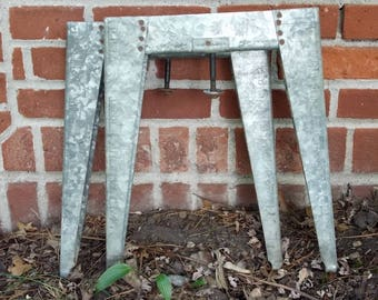 TABLE LEGS-- Set of Two Vintage Steel Washtub Legs Rustic Industrial Table Legs Project Piece Upcycling