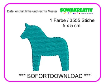 Embroidery file dala horse 5 x 5 cm - SOFORTDOWNLOAD