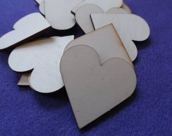 25 hearts , wood, 5x5 cm (04-0008B)
