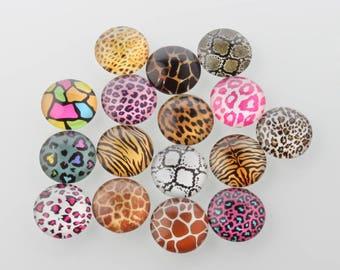 10 cabochons, 12mm, mixed animal skin,