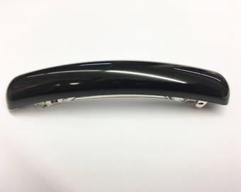 Vintage black hair barrette clip made in France