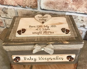 Personalised New Bab Keepsake Box Baby Memory Box Christening Gift Box New Baby Gift Shabby Chic Box Rustic Box Keepsakes