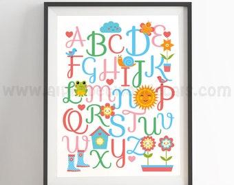 Alphabet Poster - Nursery Wall Art - Playroom Poster - Alphabet Wall Art - Alphabet Nursery Art - Alphabet Nursery - Nursery Art - 22-0009