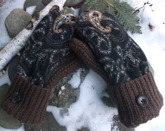 Sweater Mittens, made from recycled upcycled mittens, fleece lined so warm and cozy, in a fun brown paisley design
