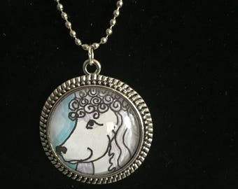 Poodle dog pendant, original art work ,with dome 1 and 1/2 inch
