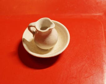 Dollhouse Miniature: Pottery Pitcher and Bowl