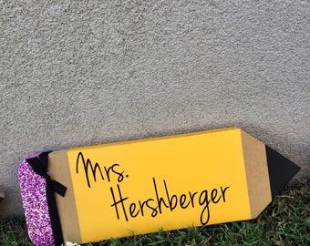 Personalized Teacher Wood Pencil Sign, Teacher Pencil, Teacher Name Sign, Teacher Appreciation Gift, Teacher Gifts, Teacher Christmas Gift,