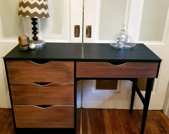 SALE Mid Century Desk Refinished And Painted Chairs Available Student Office  Desk Solid Wood Desk,
