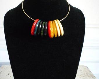 Vintage Bakelite 10 Hoop Gold Tone Choker Necklace