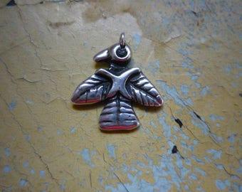 Vintage Navajo Old Pawn Fred Harvey sterling Silver Thunderbird Peyote Pendant Charm Tag Fob