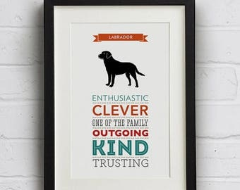 SALE 20% OFF Labrador Dog Breed Traits Typography Print
