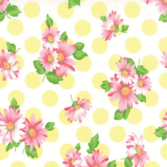 Chloe's Closet Sew and Sew Collection From Moda Fabrics. Large Yellow Dots and Pink Flowers. 33184 13