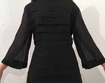 60s Black Bell Sleeve Tunic or Mini Dress