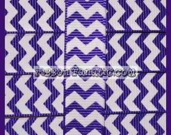 "40% off 5 yds 5/8"" Regal Purple and White Chevron Striped Grosgrain Ribbon"