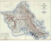 Old Map of Oahu 1938  - USGS Special Map- Hawaiian Islands