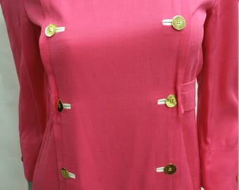 Vintage Bill Blass New York Hot Pink Dress Size 7