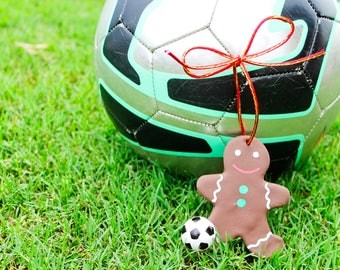 Soccer Christmas ornament Gingerbread man Soccer Christmas decoration Christmas gift for soccer players Soccer holiday ornament Soccer gifts