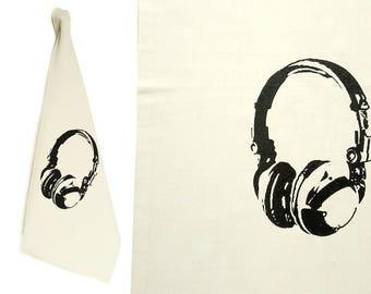 Headphones. Dish towel, organic cotton. Screen printed by hand.