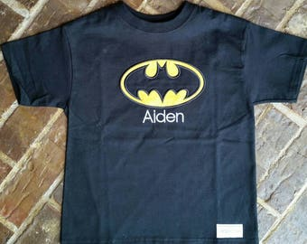 Boy's Appliqued Batman Shirt with Embroidered Name