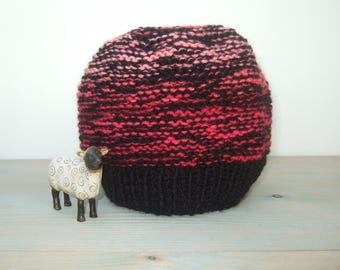 Beanie Hat - Knit Hat - Wool Beanie - Chunky Knitted Hat - Chunky Knit Beanie - Knit Beanie Hat - Knitted Beanie - Black and Pink Hat