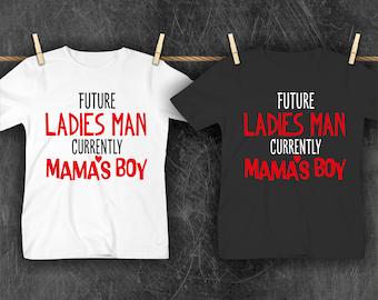 Valentine's Day Shirt Future Ladies Man Currently Mama's Boy tshirt toddler kids boy shirts onesies