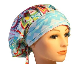 Scrub Cap Surgical Medical Chemo Chef Vet Doctor Nurse Hat Banded Bouffant Tie Back Yellow  Pink Blue Chevron 2nd Item Ships FREE