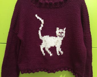 Purple Cat Sweater