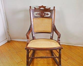 Antique Rocking Chair, Wood Rocking Chair, Rare Cane Chair, Victorian Rocking  Chair,
