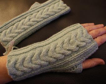 Mid-length gloves, Pearl gray Merino Wool