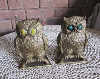 Reduced Vintage Brass Owl Bookends Hand Hand Made in Israel.